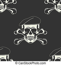 kranium, emblem, ind, en, beret, seamless