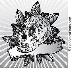 kranium, festival, illustration, vektor, död, dag