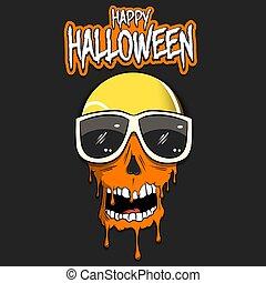 kranium, halloween., lycklig, tennis kula