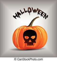 kranium, halloween, vektor, bakgrund, stående, pumpa