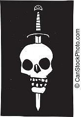 kranium, spidd, på, en, sværd, mørke