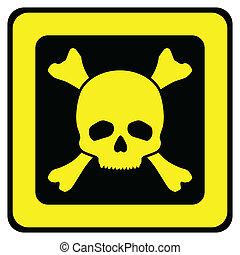 kranium, våda signera, gul