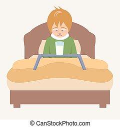 Krank kind junge illustration bett vektor krank for Bett zeichnung
