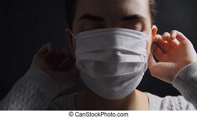 krank, tragen, frau, medizin, schützende maske, junger