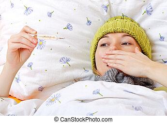 kranke frau, haben, temperatur