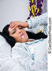 kranke frau, mit, grippe, und, fieber