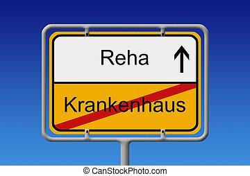 Krankenhaus - Reha - Illustration of a German City Sign with...