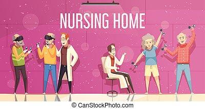 krankenpflege, abbildung, daheim