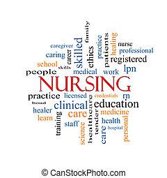 krankenpflege, wort, wolke, begriff
