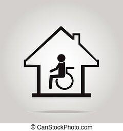 krankenpflege, zeichen, behinderten, sorgfalt, daheim, ikone