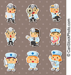 krankenschwester, aufkleber, doktor