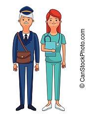 krankenschwester, briefträger