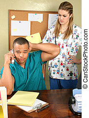 krankenschwester, buero, doktor
