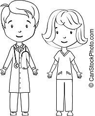krankenschwester, färbung, book:, karikatur, doktor