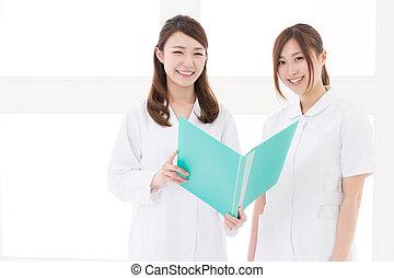 krankenschwester, frau, junger doktor