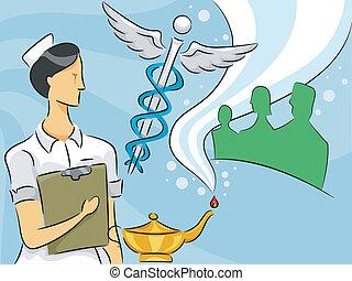 krankenschwester, frau