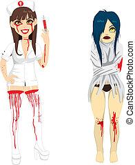 krankenschwester, frau, wahnsinnig, wahnsinnig