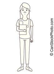 krankenschwester, freigestellt, avatar