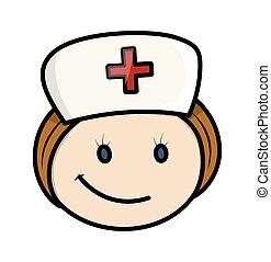 krankenschwester, glücklich, zeichen, karikatur, gesicht