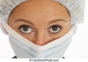 krankenschwester, kappe, maske, junger