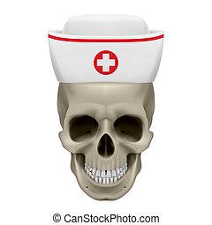krankenschwester, kappe, totenschädel