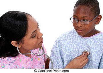 krankenschwester, kind, gesundheit