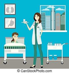 krankenschwester, krankenzimmer, patient