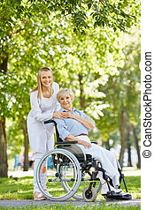 krankenschwester, mit, senioren, patient