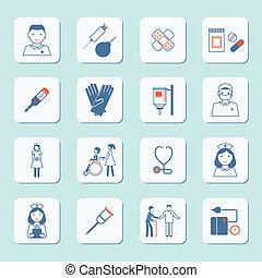 krankenschwester, satz, ikone