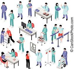 krankenschwester, satz, klinikum, isometrisch, doktor