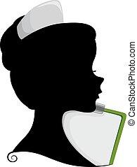 krankenschwester, silhouette