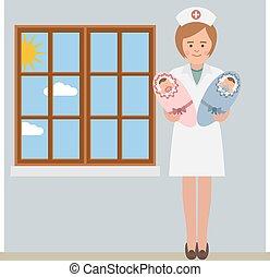 krankenschwester, und, der, zwillinge