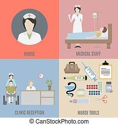 krankenschwester, und, medizinisches personal