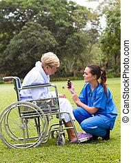krankenschwester, und, patient
