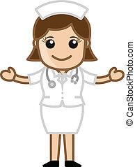 krankenschwester, vektor, karikatur, glücklich