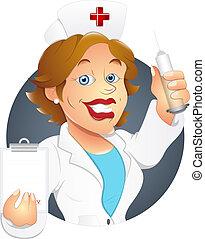 krankenschwester, zeichen, karikatur, doktor