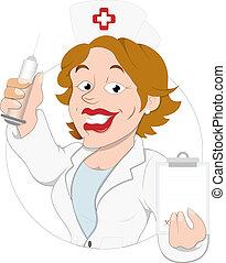 krankenschwester, zeichen, karikatur
