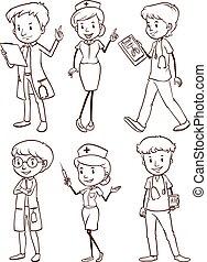 krankenschwestern, gruppe, doktoren