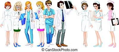 krankenschwestern, mann, weibliche , doktoren