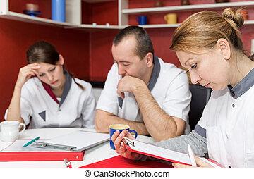 krankenschwestern, marken, a, kaffeepause