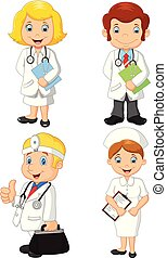 krankenschwestern, satz, karikatur, sammlung, doktoren