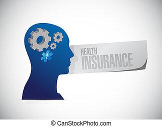 krankenversicherung, denken, zeichen, begriff