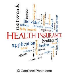 krankenversicherung, wort, wolke, begriff, vergehen