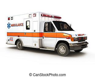 krankenwagen, auf, a, weißer hintergrund