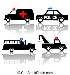 krankenwagen, polizei- auto, brennen lastwagen, silhouetten