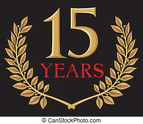 krans, 15, gylden, laurbær, år