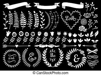 krans, floral, vector, laurier, witte