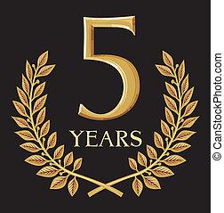 krans, gylden, 5, laurbær, år