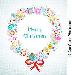 krans, kerstmis kaart, mal
