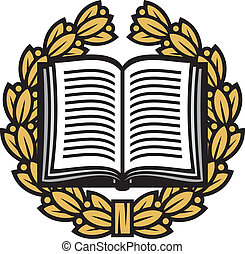 krans, laurier, boek, open
